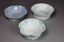 Small blue porcelain fluted dessert bowls.