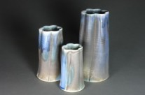 Blue Vase Trio, Soda/Salt Fired Porcelain