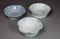 Small blue porcelain fluted dessert bowls.