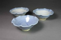 Blue porcelain fluted bowls.
