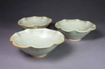 Turquoise porcelain fluted dessert bowls.